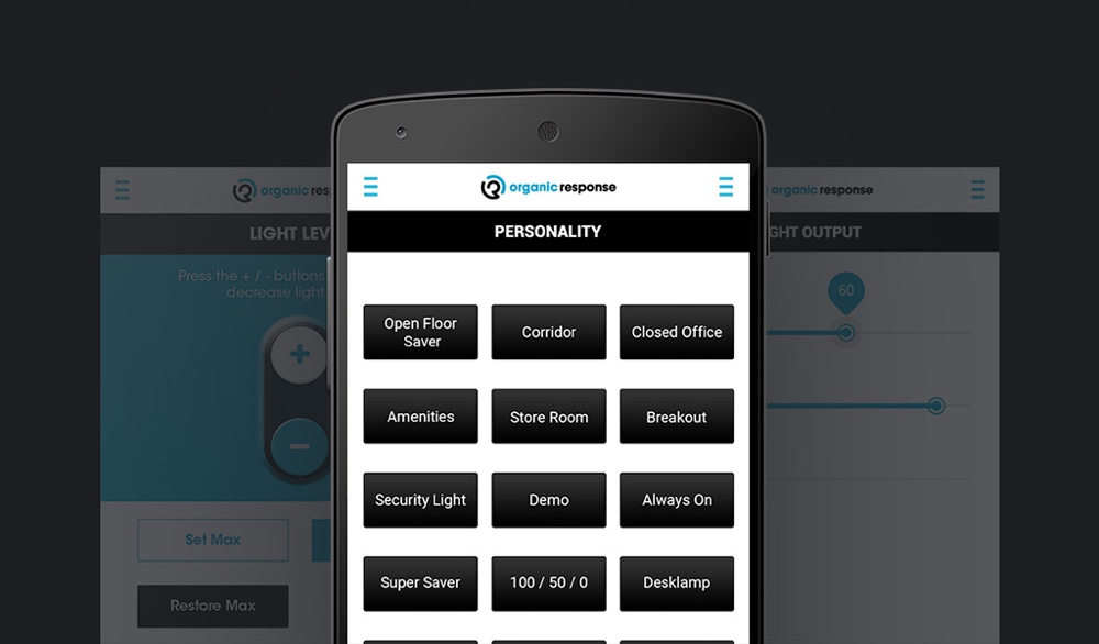 Example of UI for mobile application of Organic Response, developed by Magora