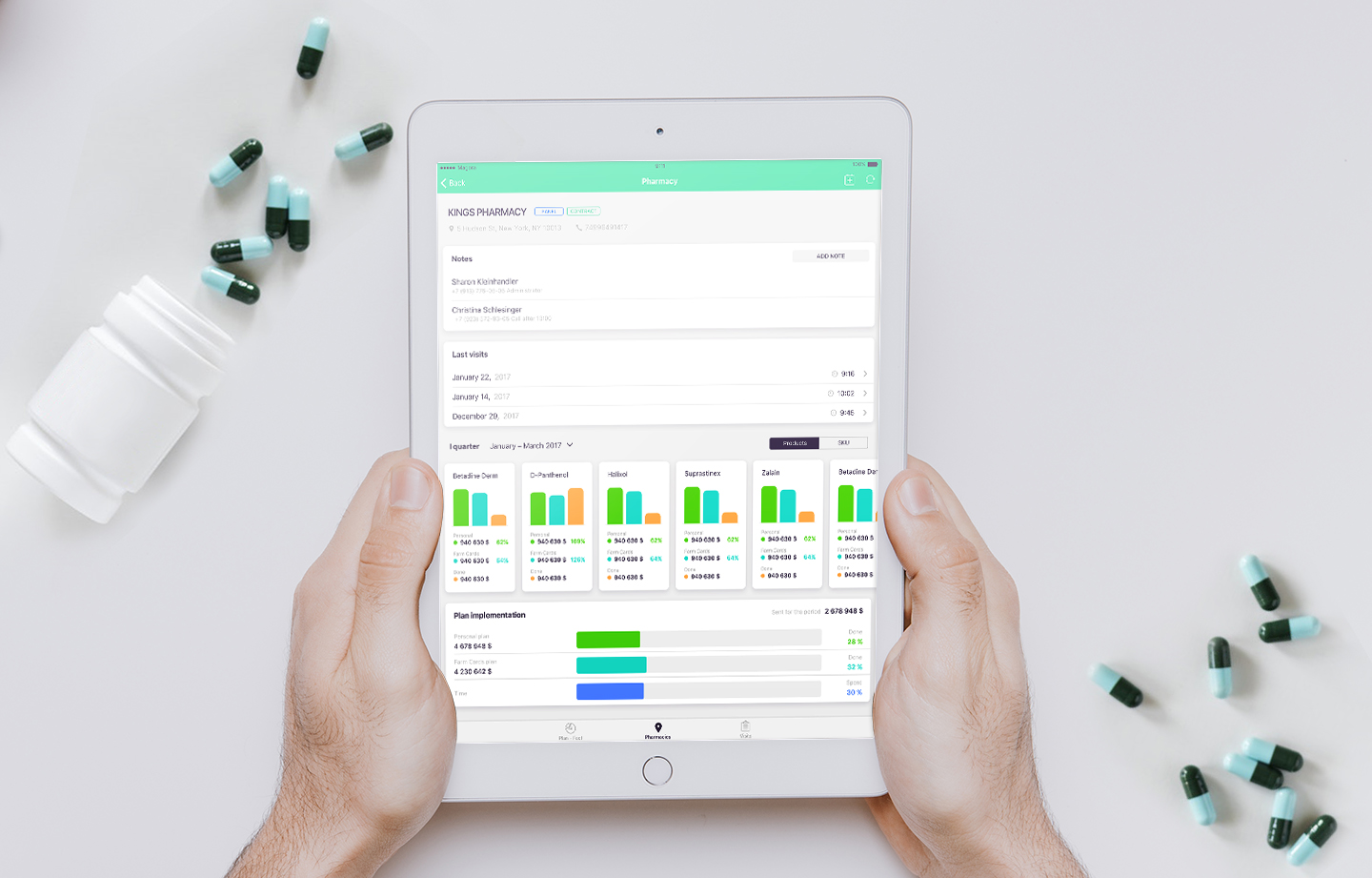 Tablet user interface for Pharmcard enterprise project, created by Magora IT