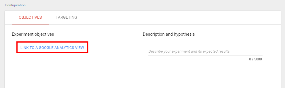 "Go to "" objectives"" and click link to a Google Analytics view."