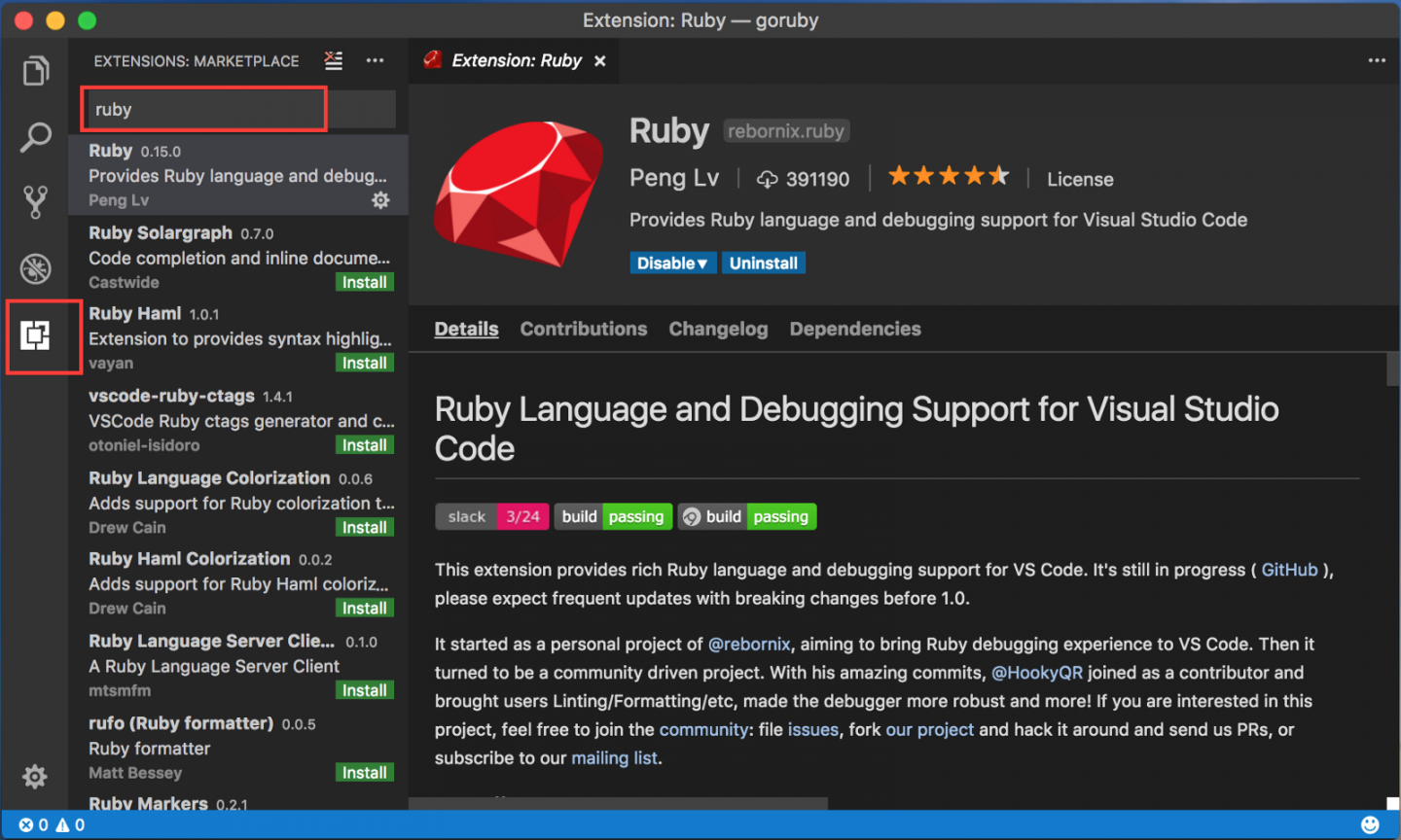 ruby language and debugging support