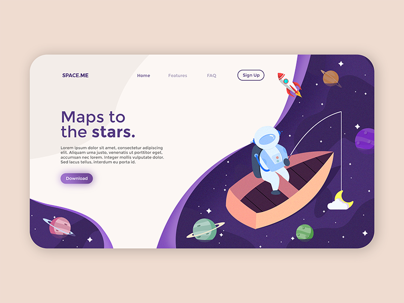 An illustrated flat design landing page