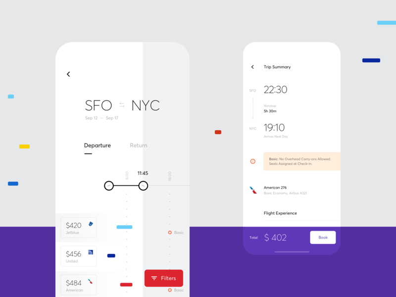 A minimalist user interface for a flight mobile app