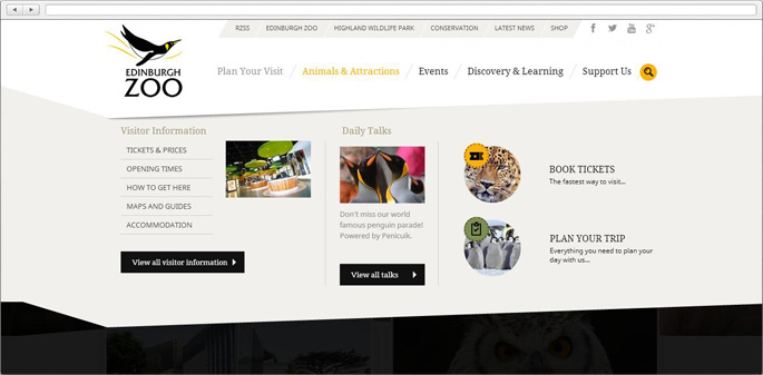 Example of navigation for Edinburgh-Zoo web site