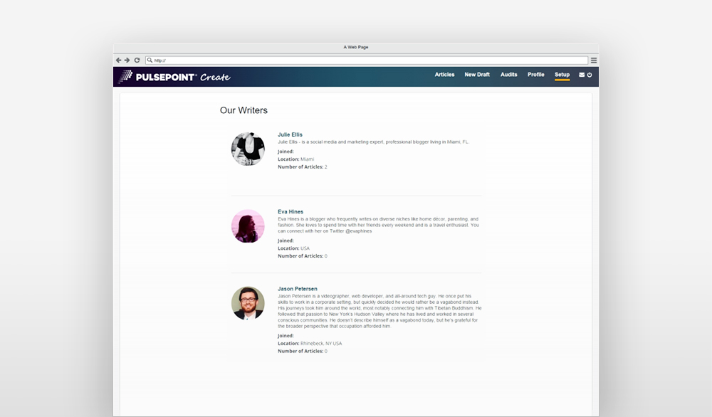 Example of Magora web app development project for content management